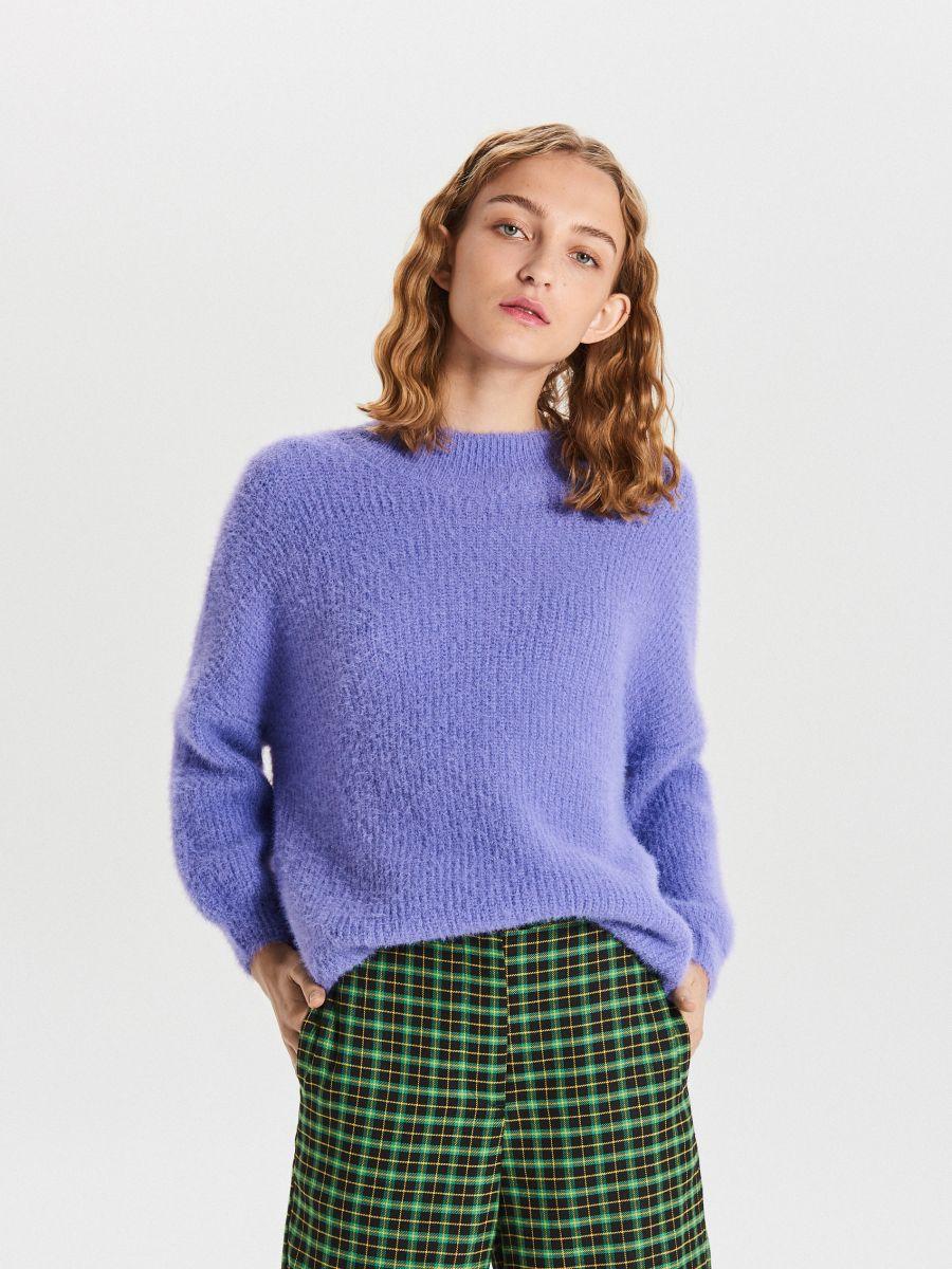 Puszysty sweter - NIEBIESKI - WB898-54X - Cropp - 1
