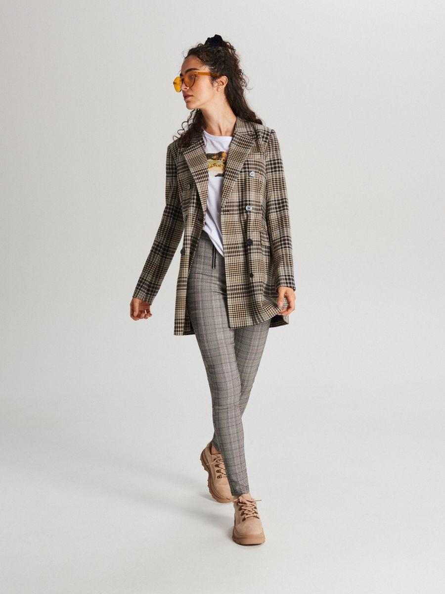 Spodnie high waist z zamkami - POMARAŃCZOWY - WC049-28X - Cropp - 1