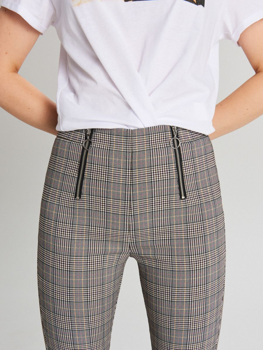 Spodnie high waist z zamkami - POMARAŃCZOWY - WC049-28X - Cropp - 4