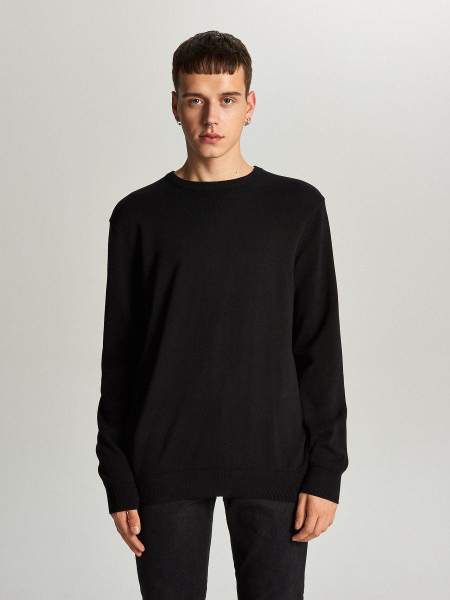 Prosty sweter o kroju basic - CZARNY - WC052-99X - Cropp - 2
