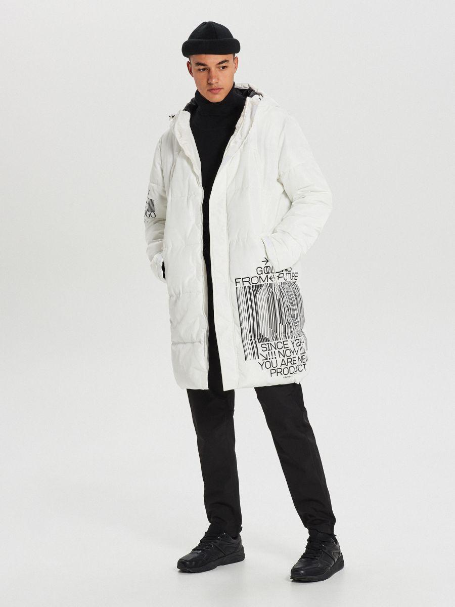 Pikowany płaszcz z kapturem - BIAŁY - WC146-00X - Cropp - 1
