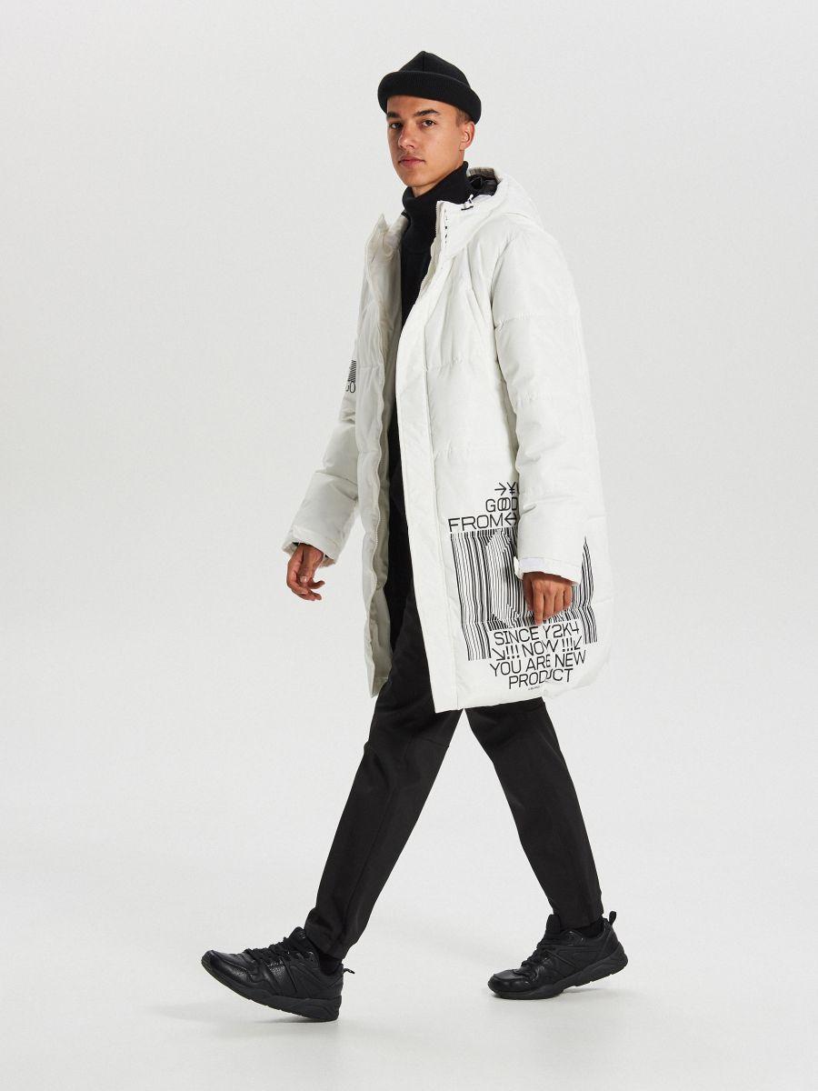 Pikowany płaszcz z kapturem - BIAŁY - WC146-00X - Cropp - 3
