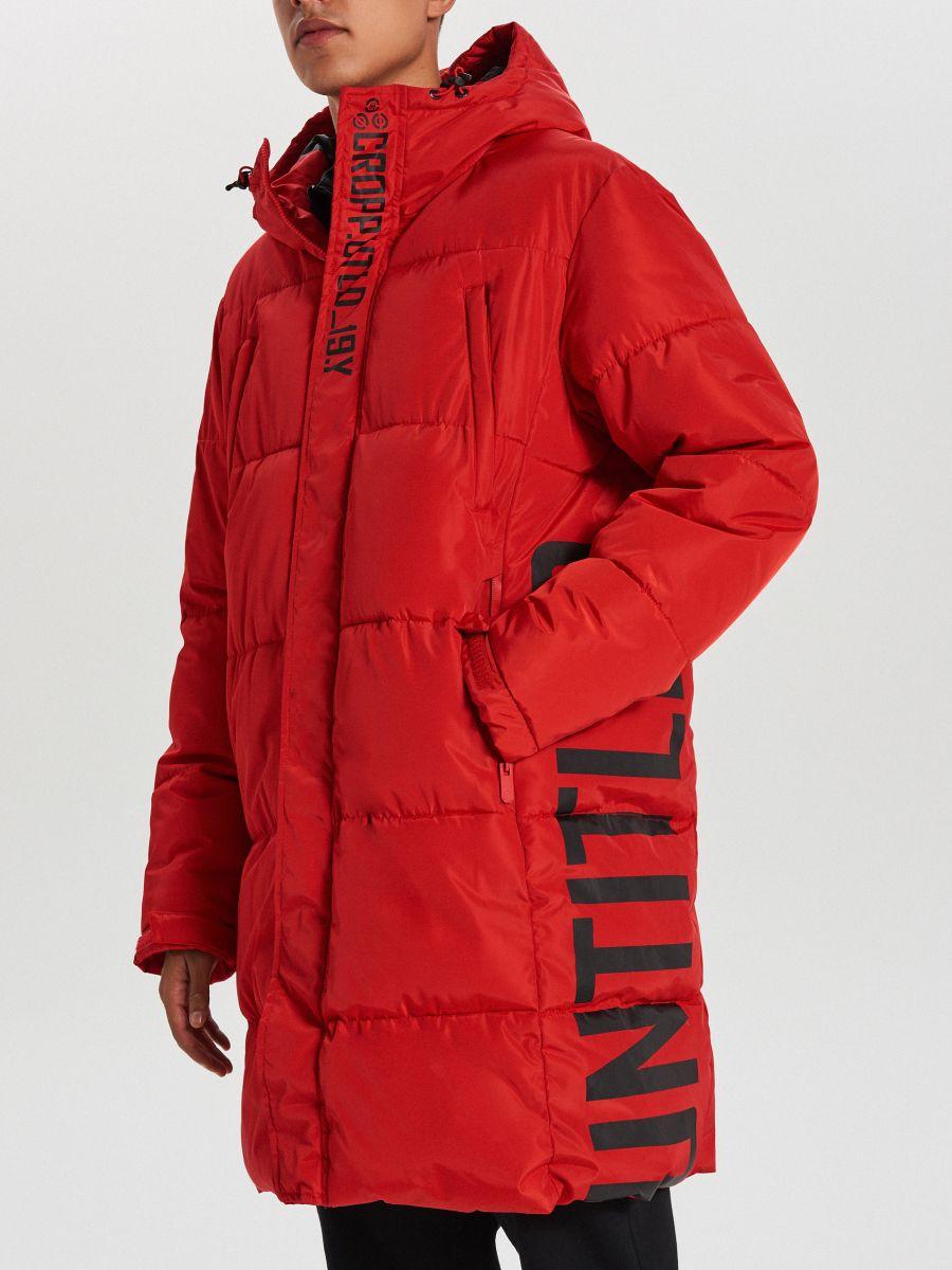 Pikowany płaszcz z kapturem - CZERWONY - WC146-33X - Cropp - 4