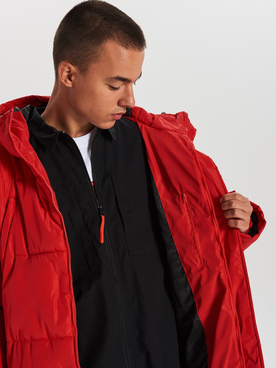 Pikowany płaszcz z kapturem - CZERWONY - WC146-33X - Cropp - 6