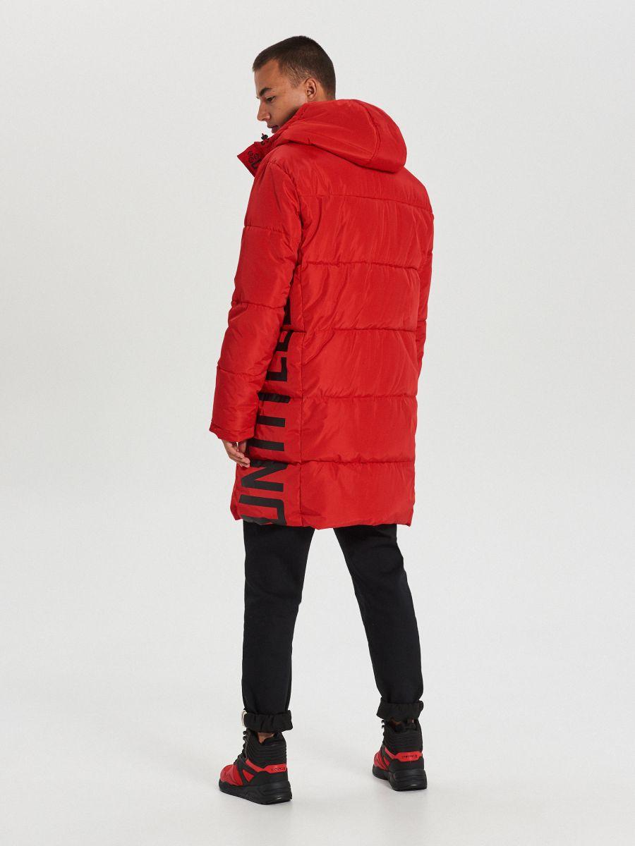 Pikowany płaszcz z kapturem - CZERWONY - WC146-33X - Cropp - 7