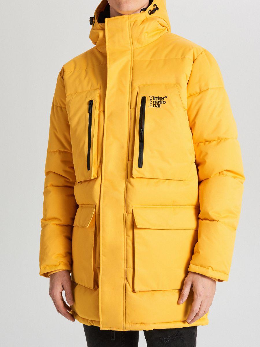 Sportowy płaszcz z kapturem - ŻÓŁTY - WC151-11X - Cropp - 4