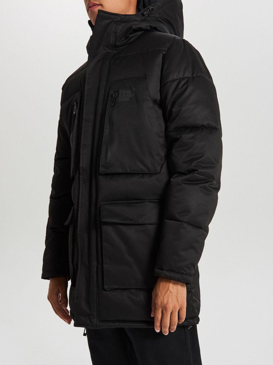 Sportowy płaszcz z kapturem - CZARNY - WC151-99X - Cropp - 6