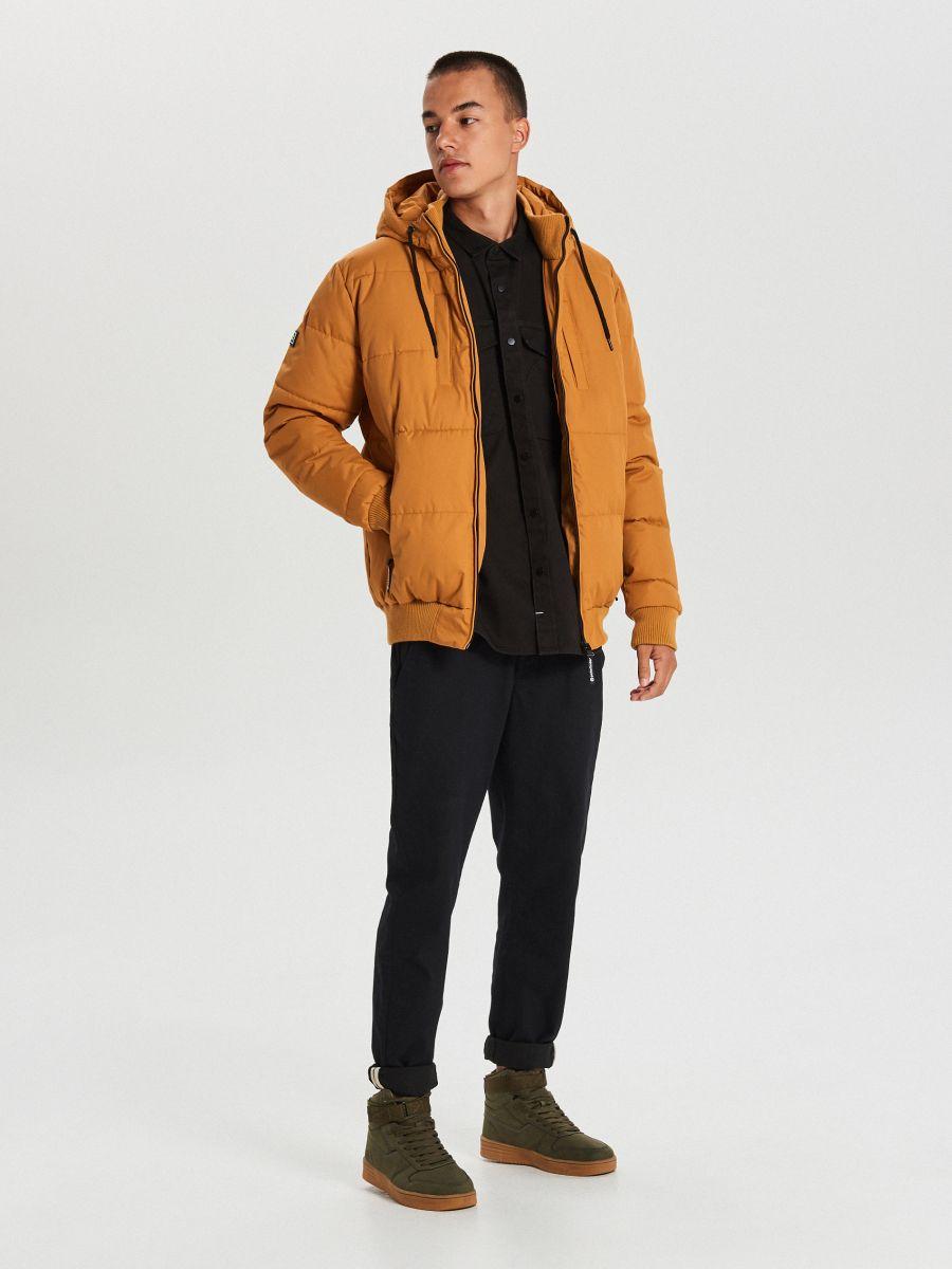 Pikowana kurtka na zimę - BRĄZOWY - WC153-82X - Cropp - 2