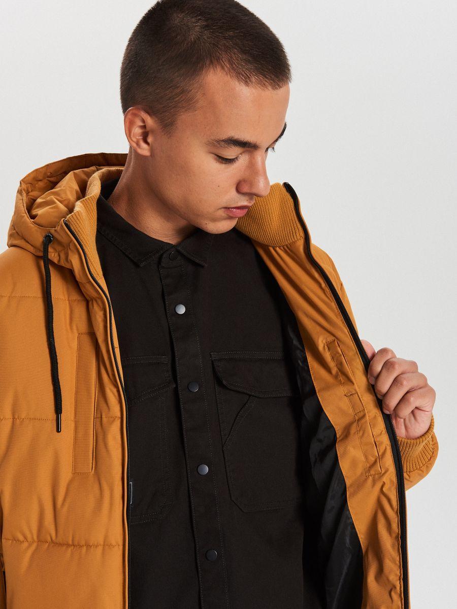 Pikowana kurtka na zimę - BRĄZOWY - WC153-82X - Cropp - 4