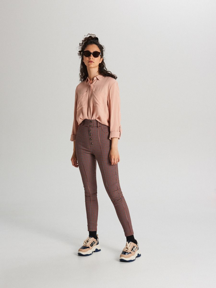 Spodnie high waist z guzikami - BORDOWY - WC776-83X - Cropp - 1