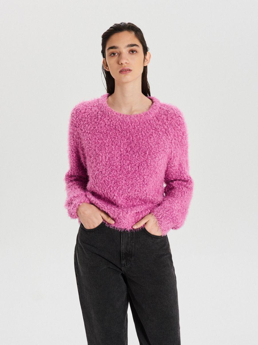 Puszysty sweter - FIOLETOWY - WC870-44X - Cropp - 1