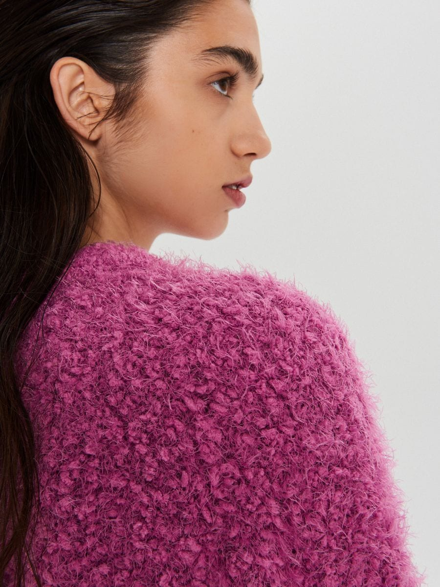 Puszysty sweter - FIOLETOWY - WC870-44X - Cropp - 3