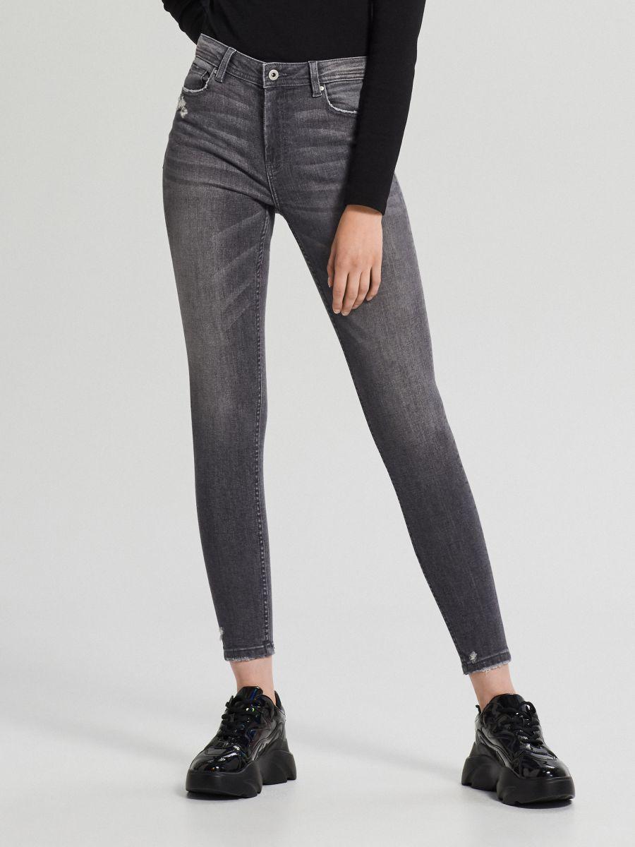 Jeansy skinny mid waist - SZARY - WC912-90J - Cropp - 3