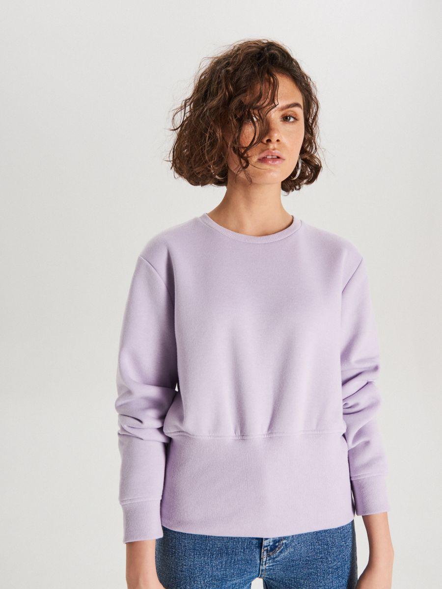 Bluza z szerokim ściągaczem - FIOLETOWY - WE190-48X - Cropp - 2