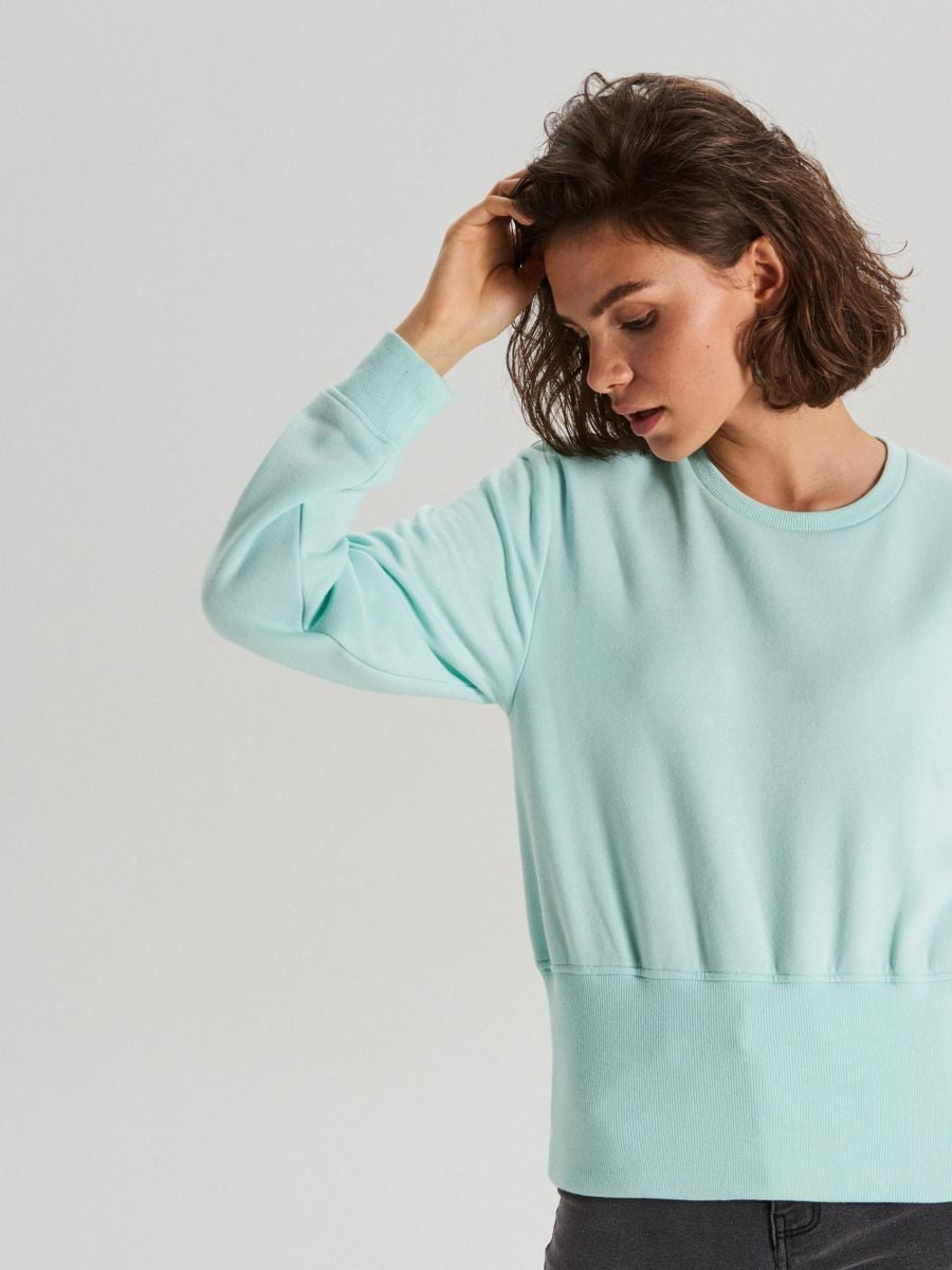 Bluza z szerokim ściągaczem - TURKUSOWY - WE190-60X - Cropp - 2