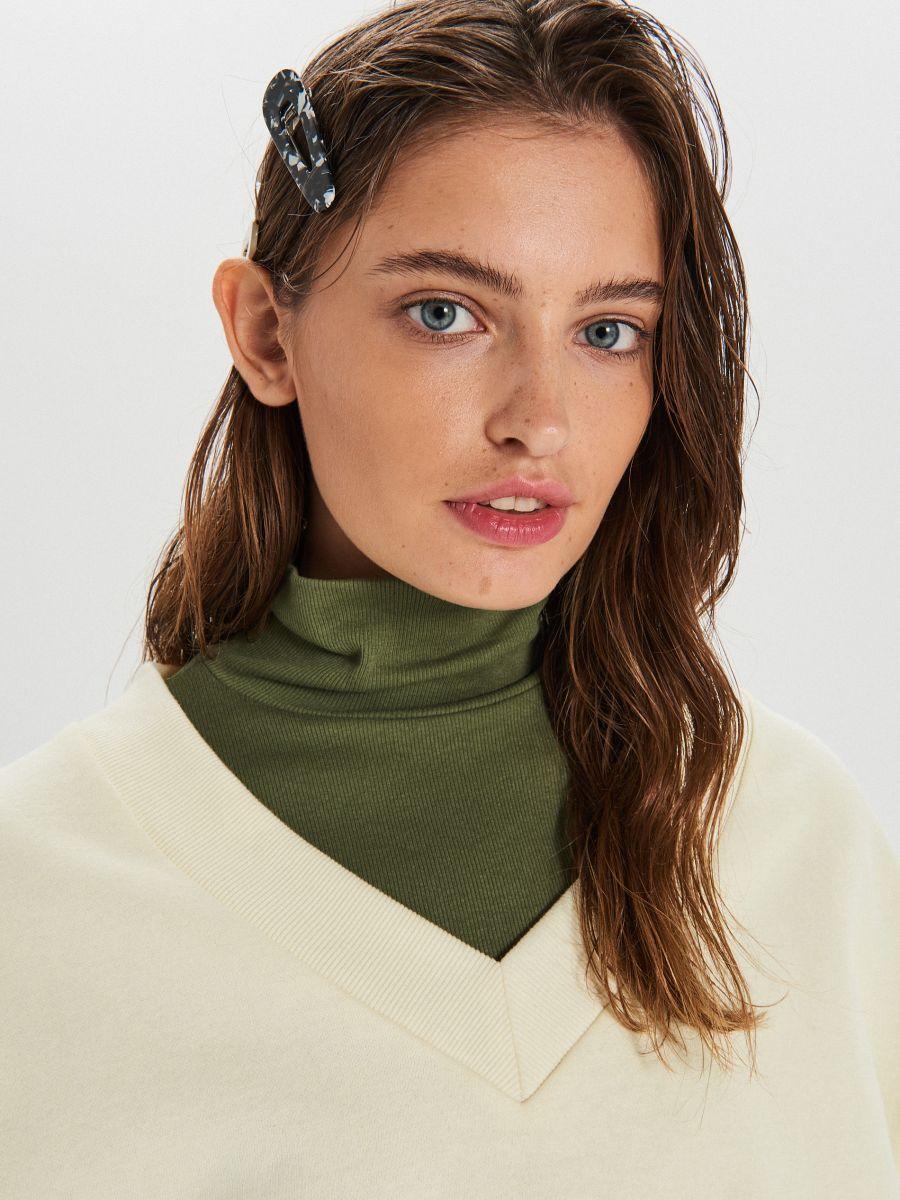 Gładka bluza oversize - KREMOWY - WE210-01X - Cropp - 3