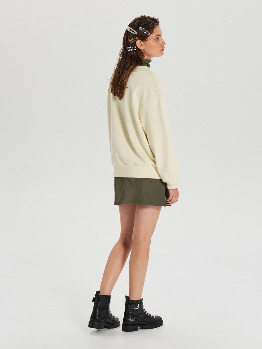 Gładka bluza oversize - KREMOWY - WE210-01X - Cropp - 4