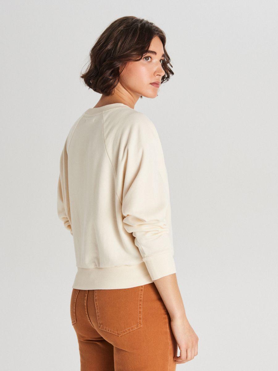 Bluza z raglanowym rękawem - BEŻOWY - WE228-80X - Cropp - 4