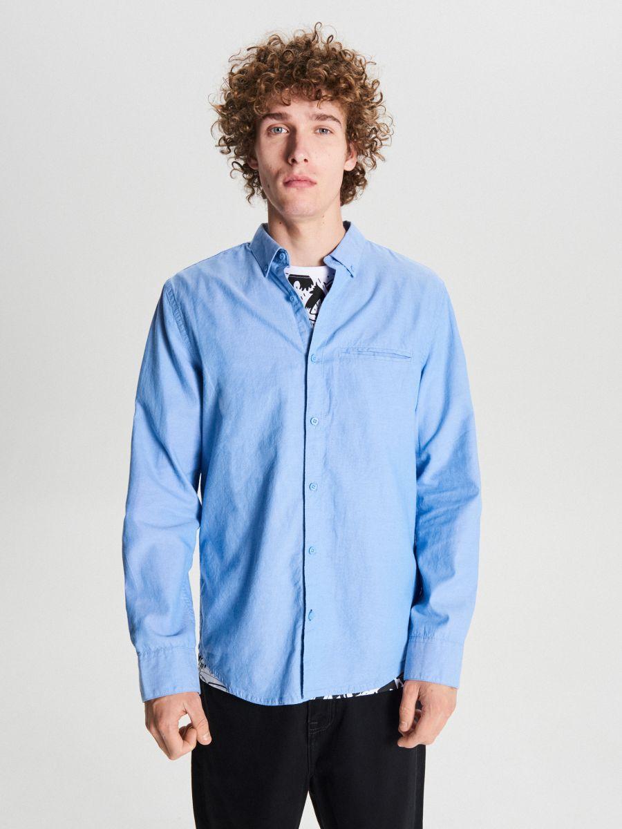Gładka koszula basic - NIEBIESKI - WE363-50M - Cropp - 1