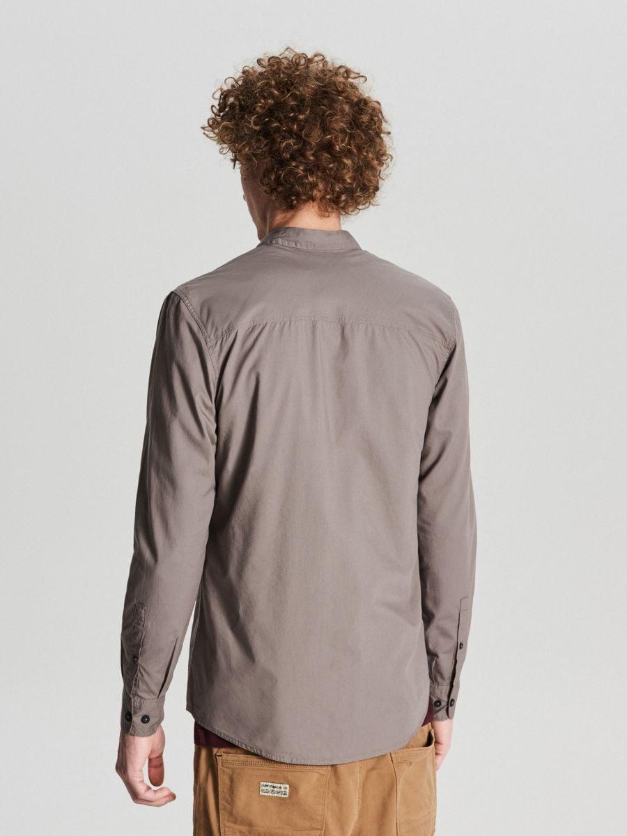 Gładka koszula slim - JASNY SZARY - WE364-09X - Cropp - 4