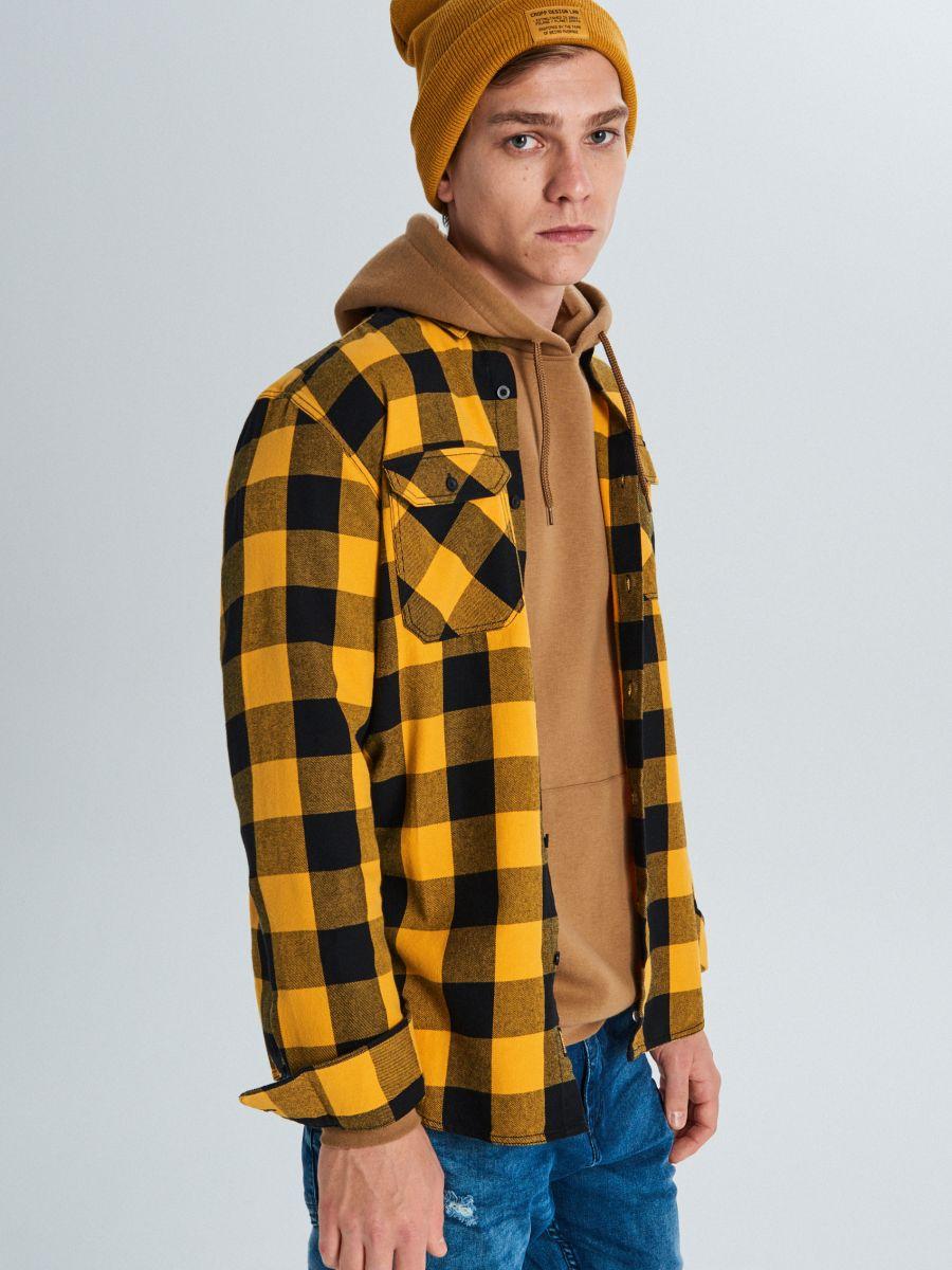 Koszula w kratę - ŻÓŁTY - WE365-11X - Cropp - 1