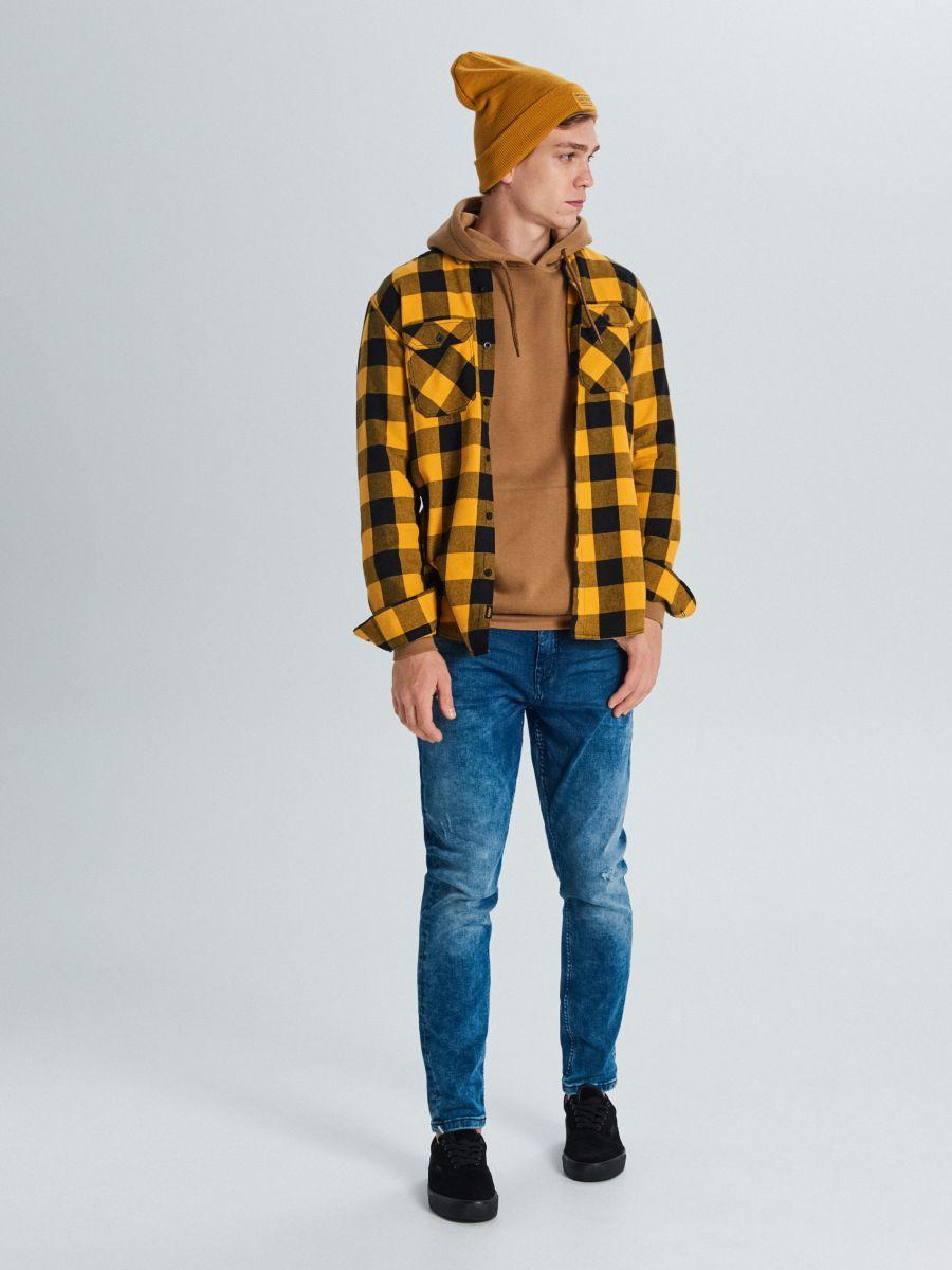 Koszula w kratę - ŻÓŁTY - WE365-11X - Cropp - 2