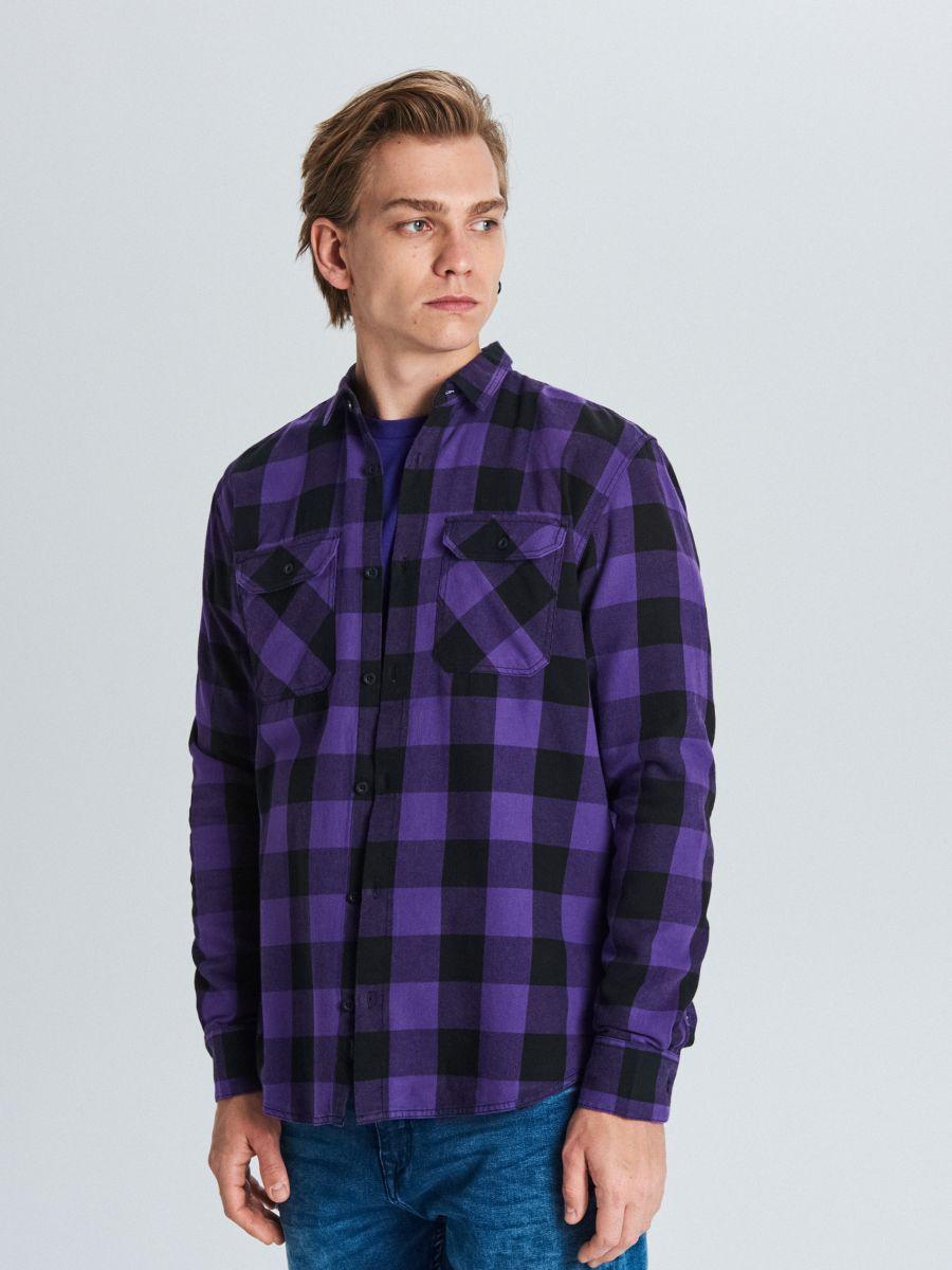 Koszula w kratę - FIOLETOWY - WE365-44X - Cropp - 1