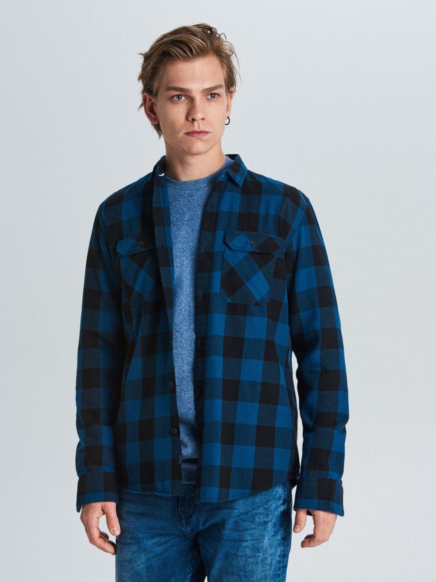 Koszula w kratę - GRANATOWY - WE365-59X - Cropp - 1
