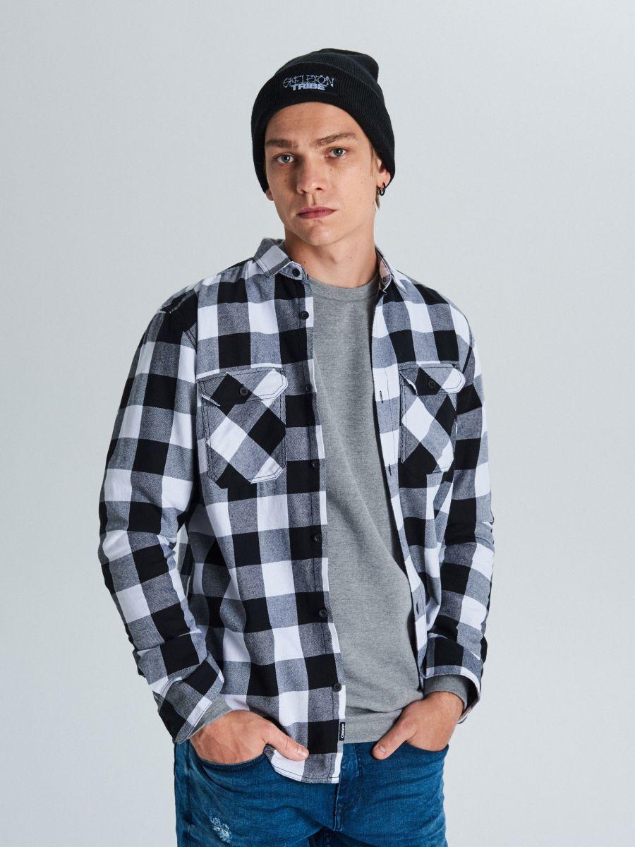 Koszula w kratę - CZARNY - WE365-99X - Cropp - 1