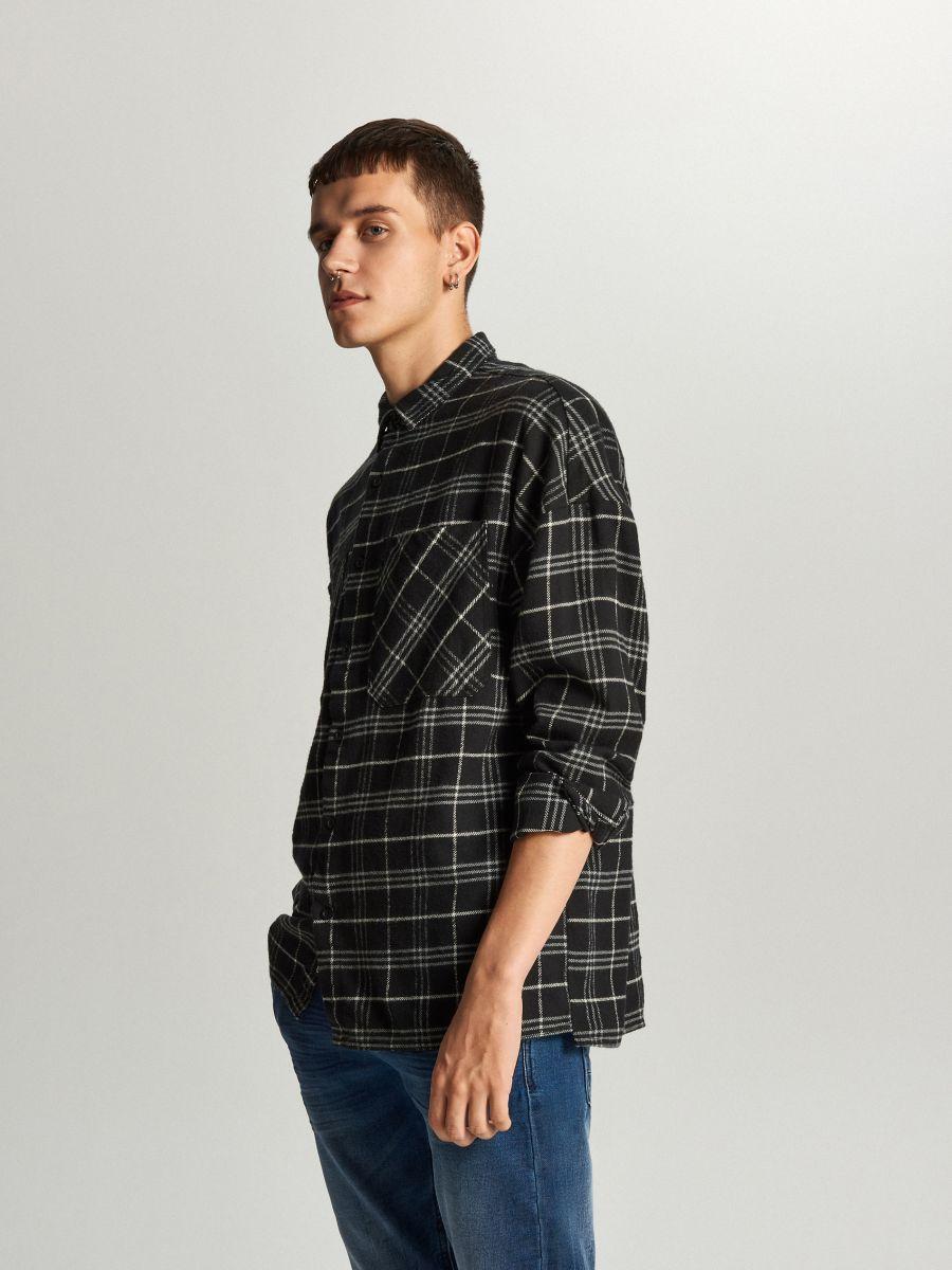 Koszula oversize w kratę - CZARNY - WE367-99X - Cropp - 2