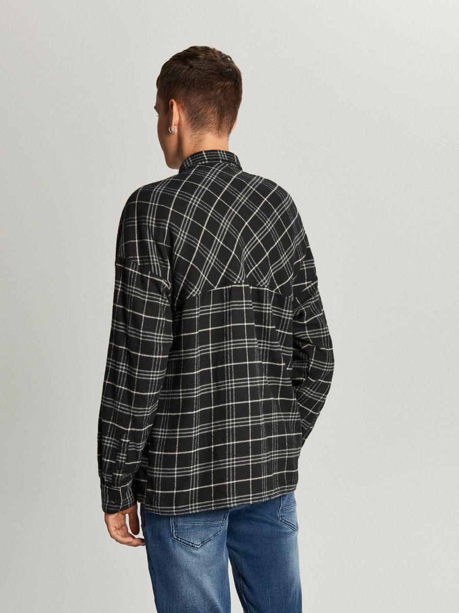 Koszula oversize w kratę - CZARNY - WE367-99X - Cropp - 3