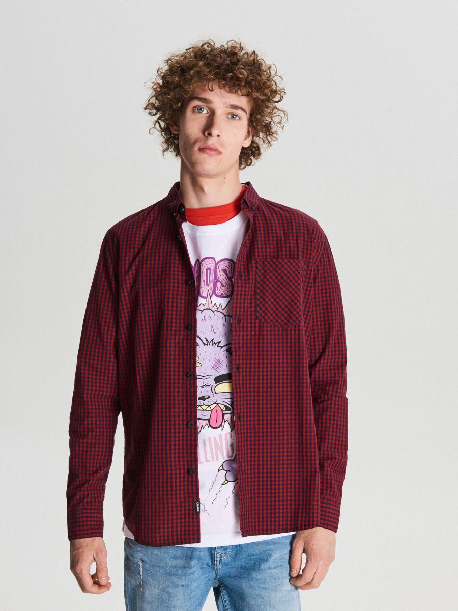 Koszula w drobną kratę - BORDOWY - WF525-83X - Cropp - 1