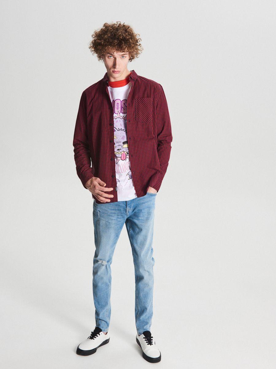 Koszula w drobną kratę - BORDOWY - WF525-83X - Cropp - 2