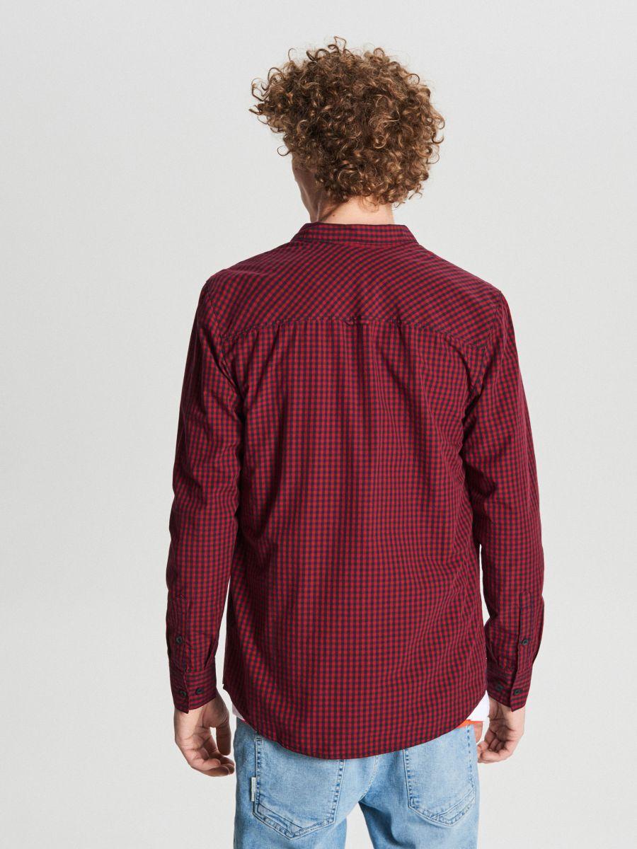 Koszula w drobną kratę - BORDOWY - WF525-83X - Cropp - 4