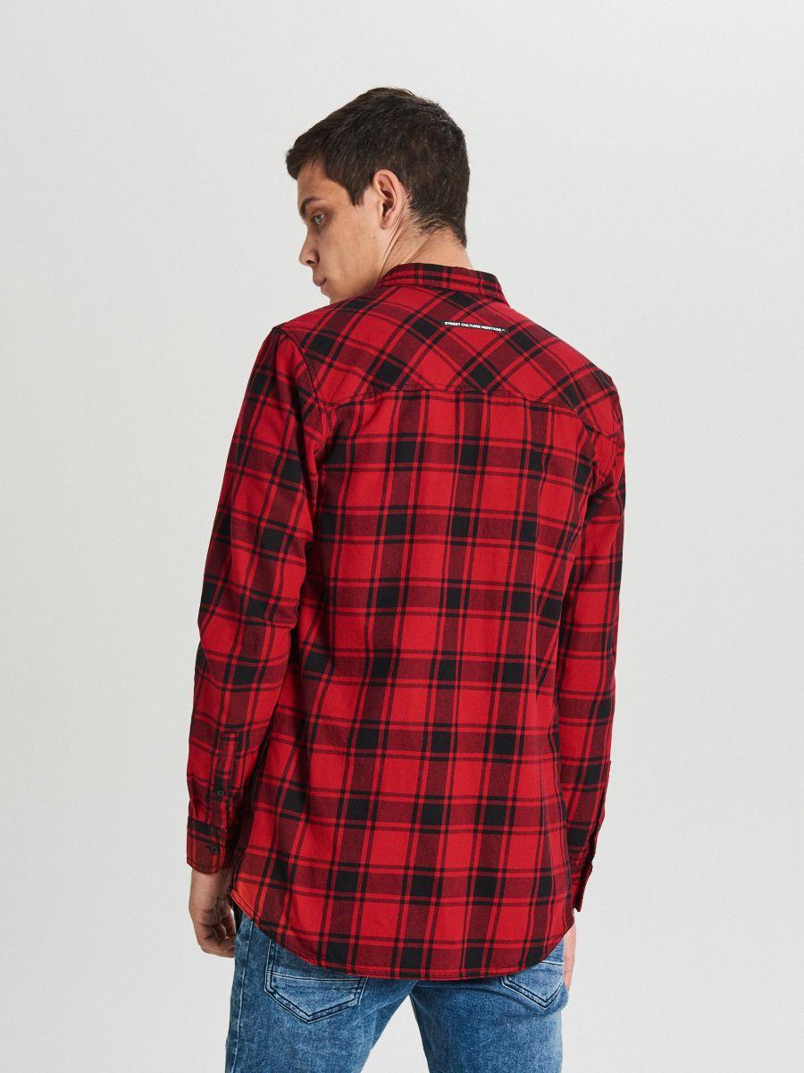 Długa koszula z zamkami - CZERWONY - WF529-33X - Cropp - 4