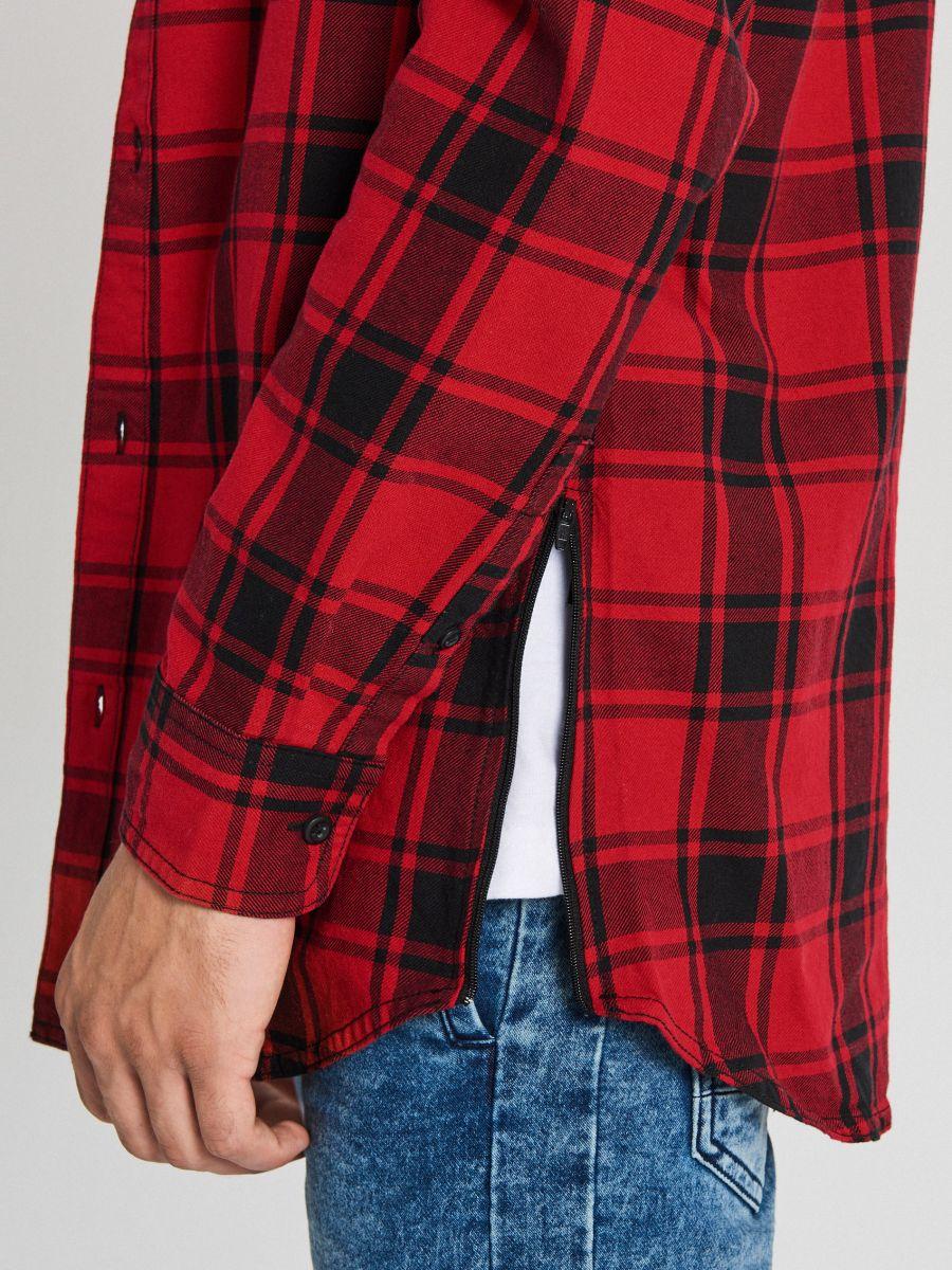 Długa koszula z zamkami - CZERWONY - WF529-33X - Cropp - 5