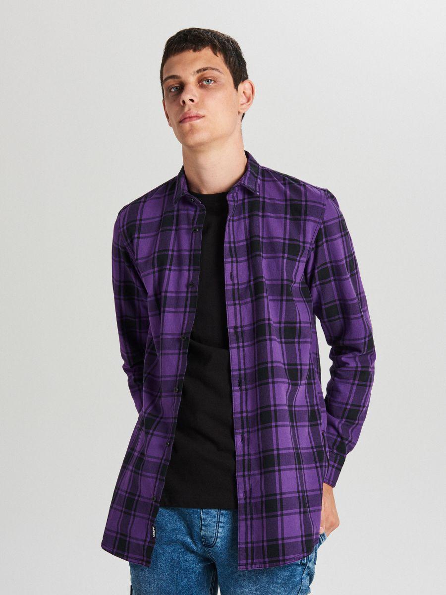 Długa koszula z zamkami - FIOLETOWY - WF529-44X - Cropp - 1