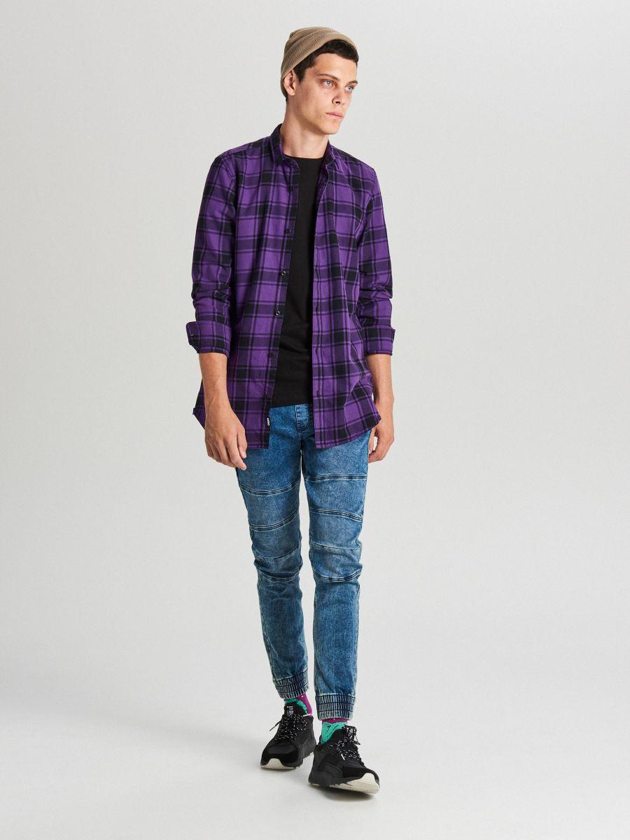 Długa koszula z zamkami - FIOLETOWY - WF529-44X - Cropp - 2