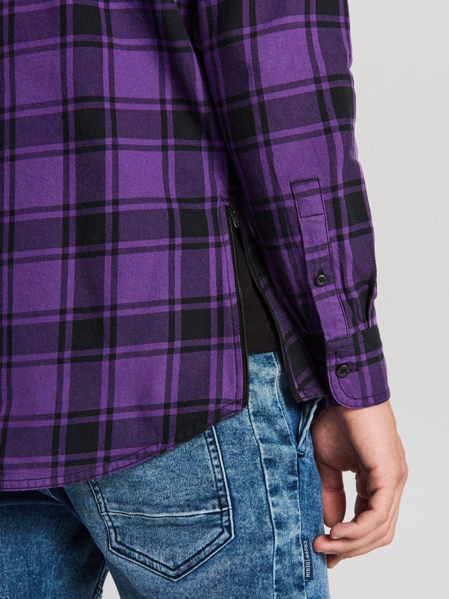 Długa koszula z zamkami - FIOLETOWY - WF529-44X - Cropp - 4