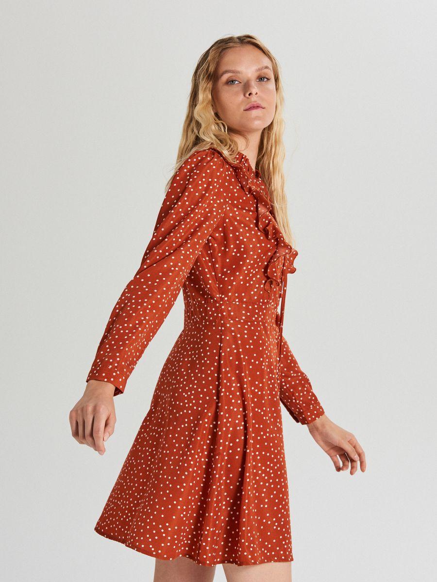 Wzorzysta sukienka mini - BORDOWY - WF682-92X - Cropp - 1