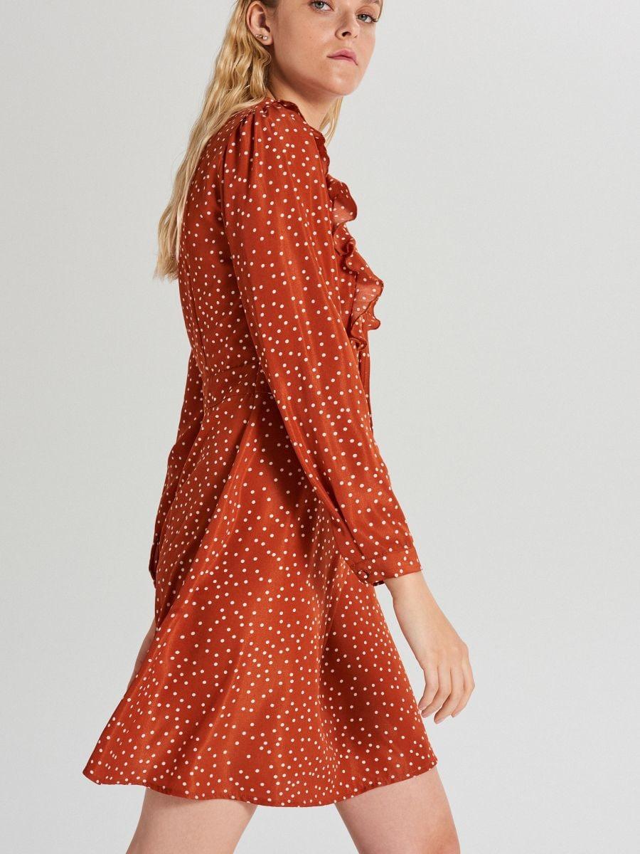 Wzorzysta sukienka mini - BORDOWY - WF682-92X - Cropp - 3