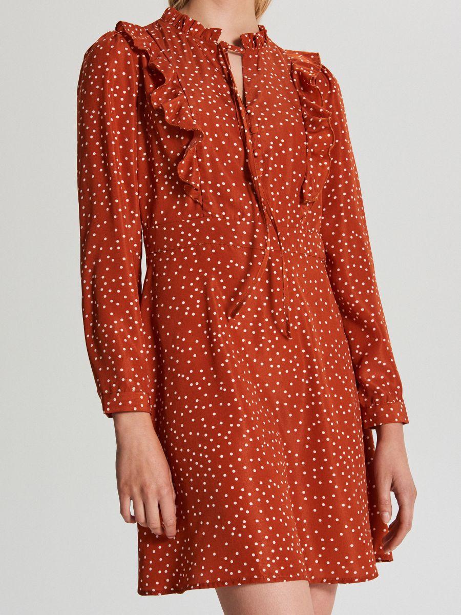 Wzorzysta sukienka mini - BORDOWY - WF682-92X - Cropp - 4