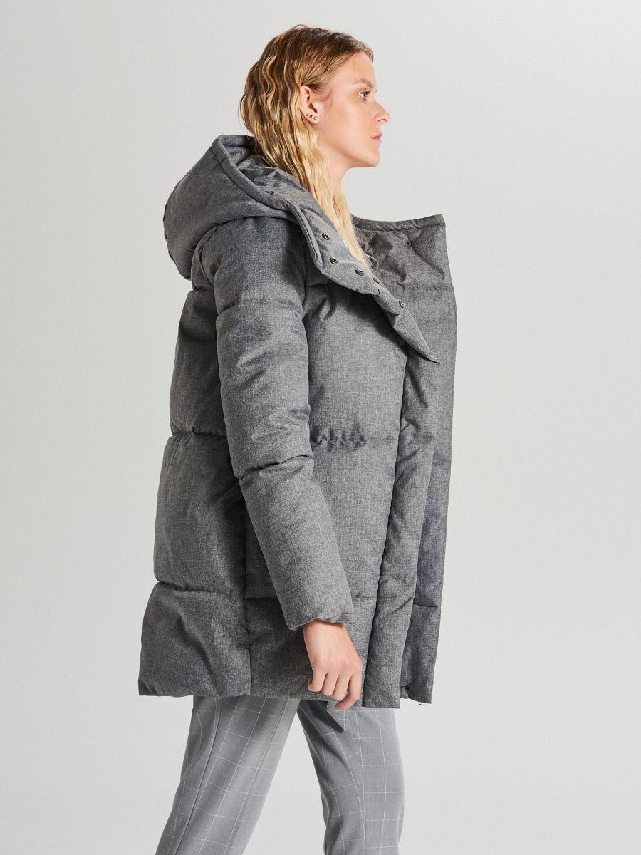Pikowana kurtka z kapturem - JASNY SZARY - WG285-09X - Cropp - 3