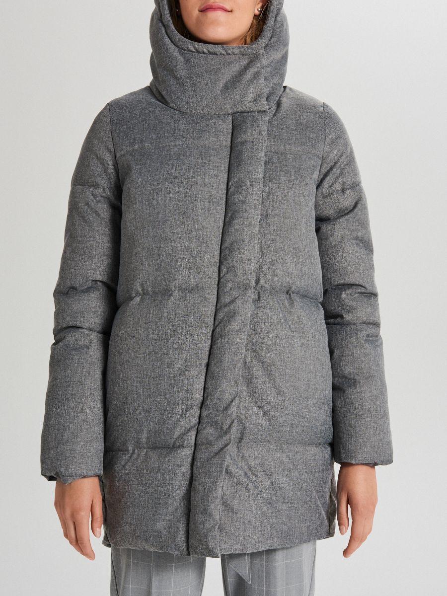 Pikowana kurtka z kapturem - JASNY SZARY - WG285-09X - Cropp - 6
