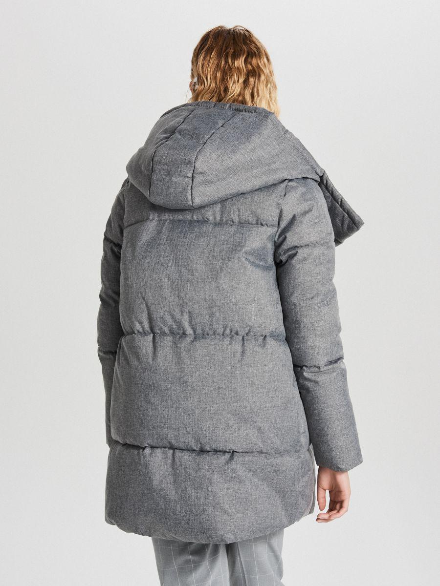 Pikowana kurtka z kapturem - JASNY SZARY - WG285-09X - Cropp - 7