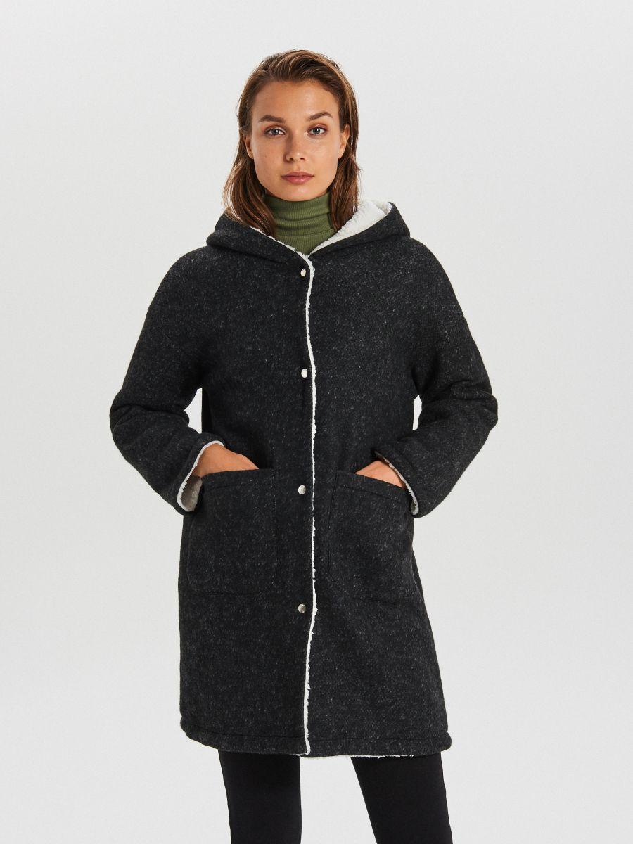 Dłuższy płaszcz z kapturem - SZARY - WG310-90M - Cropp - 1