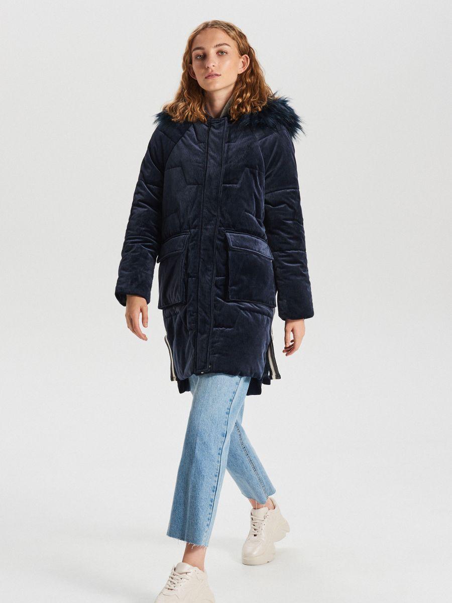 Ciepły płaszcz z kapturem - GRANATOWY - WG316-59X - Cropp - 1