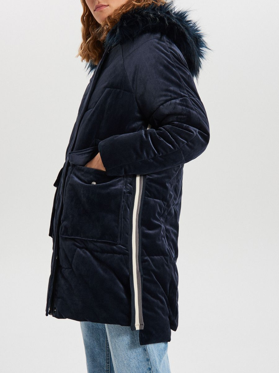 Ciepły płaszcz z kapturem - GRANATOWY - WG316-59X - Cropp - 4
