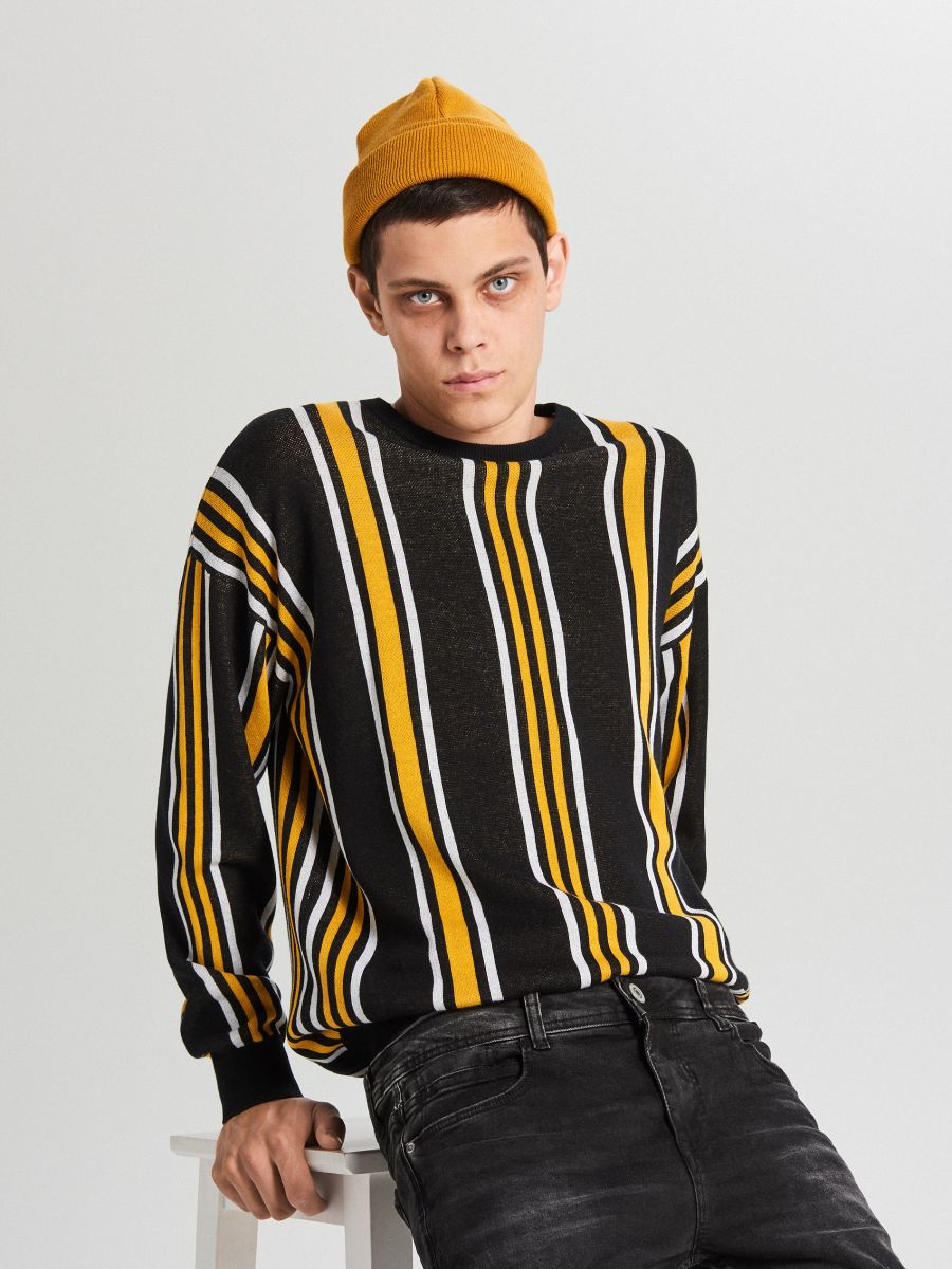 Sweter w paski - POMARAŃCZOWY - WG366-22X - Cropp - 1