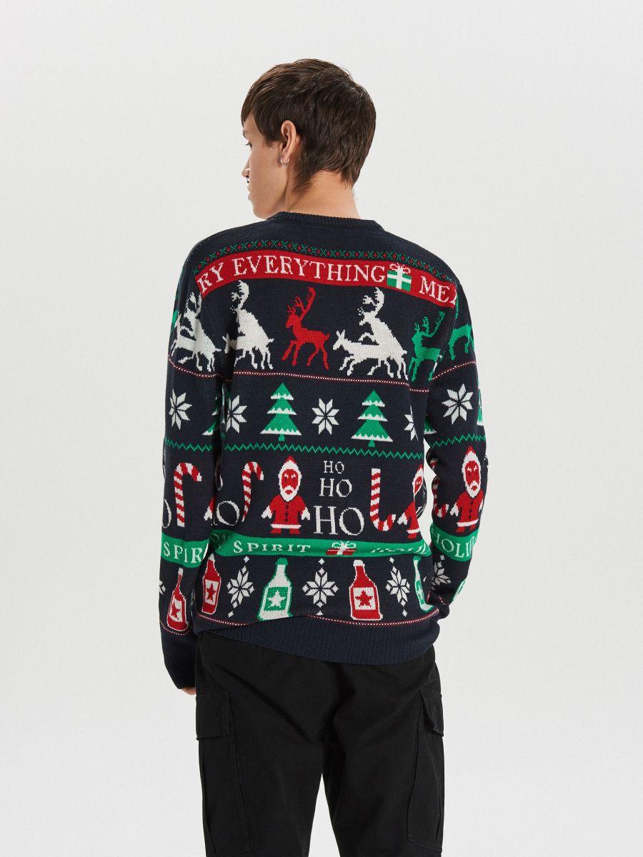 Sweter z motywem zimowym - GRANATOWY - WG373-59X - Cropp - 5